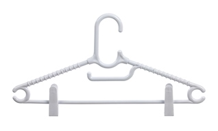 Pack of 2 clothes hangers with clips.