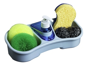Kitchen sponge holder with soap dispenser.